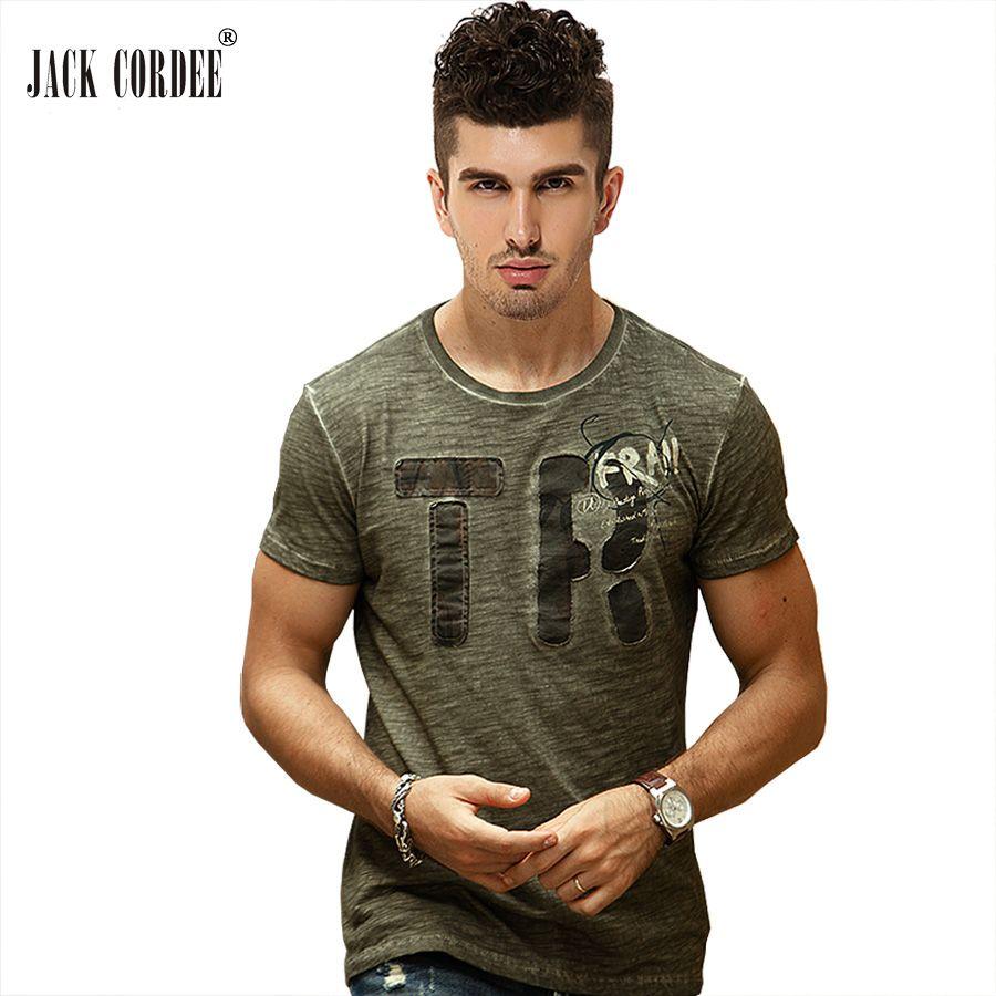 JACK CORDEE Mode Hommes T-shirt Drôle Lettre Imprimer Coton Mince Fit T-Shirt D'o-Cou T-shirt À Manches Courtes Marque T-Shirt Hommes Tops