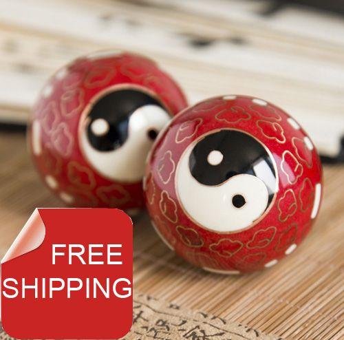 Boules de baoding chinoises 50mm40mm, design Taichi cloisonné en plusieurs couleurs. balle de fitness Chiming. cadeau pour la maison. boîte en papier. livraison gratuite.