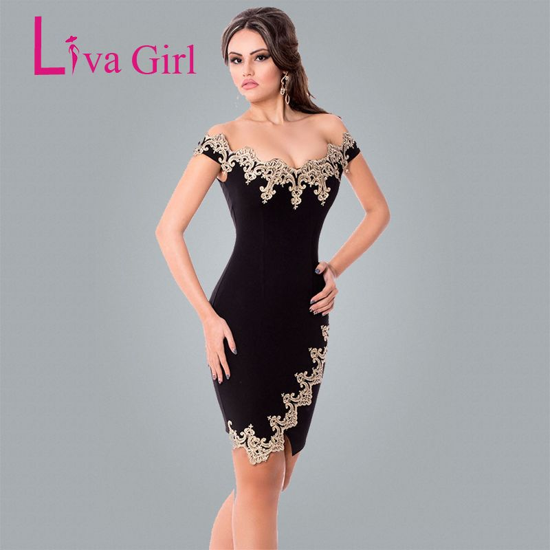 Liva Fille Sexy Partie Moulante Robes Or Dentelle Applique Noir Off Épaule Mini Robe Elegante Roupas Feminina Robes De Festa