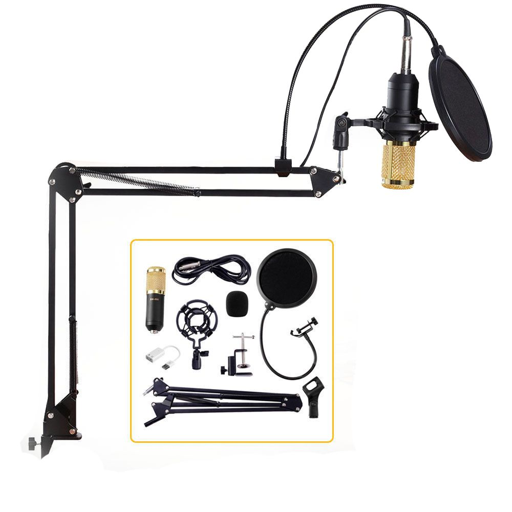 Professional Condenser Audio 3.5mm Wired BM800 Studio Microphone Vocal <font><b>Recording</b></font> KTV Karaoke Microphone Mic W/Stand For Computer