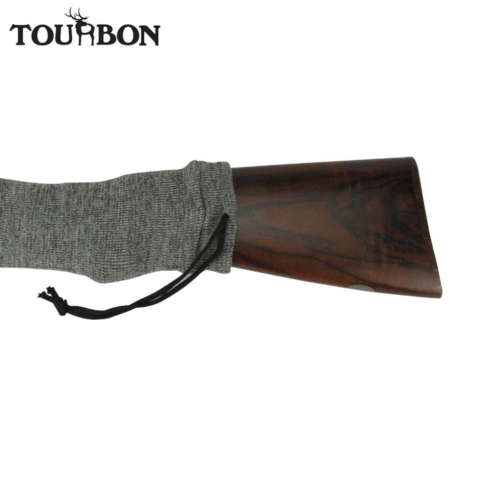 Tourbon Hunting Gun Accessory Silicone Treated Rifle Knit Gun Firearm Socks Shotgun Cover Gun Protector Cover Grey for Shooting