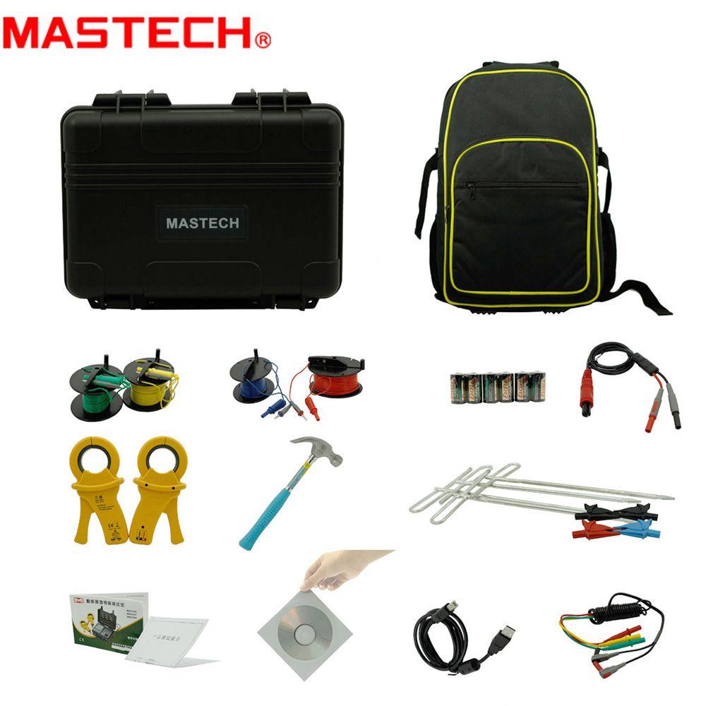 MasTech MS2308 2/3/4 Pole Double Schellen Erdungswiderstand Tester Meter Spezifischer Erdwiderstand RK Draht Entschädigung Tester USB