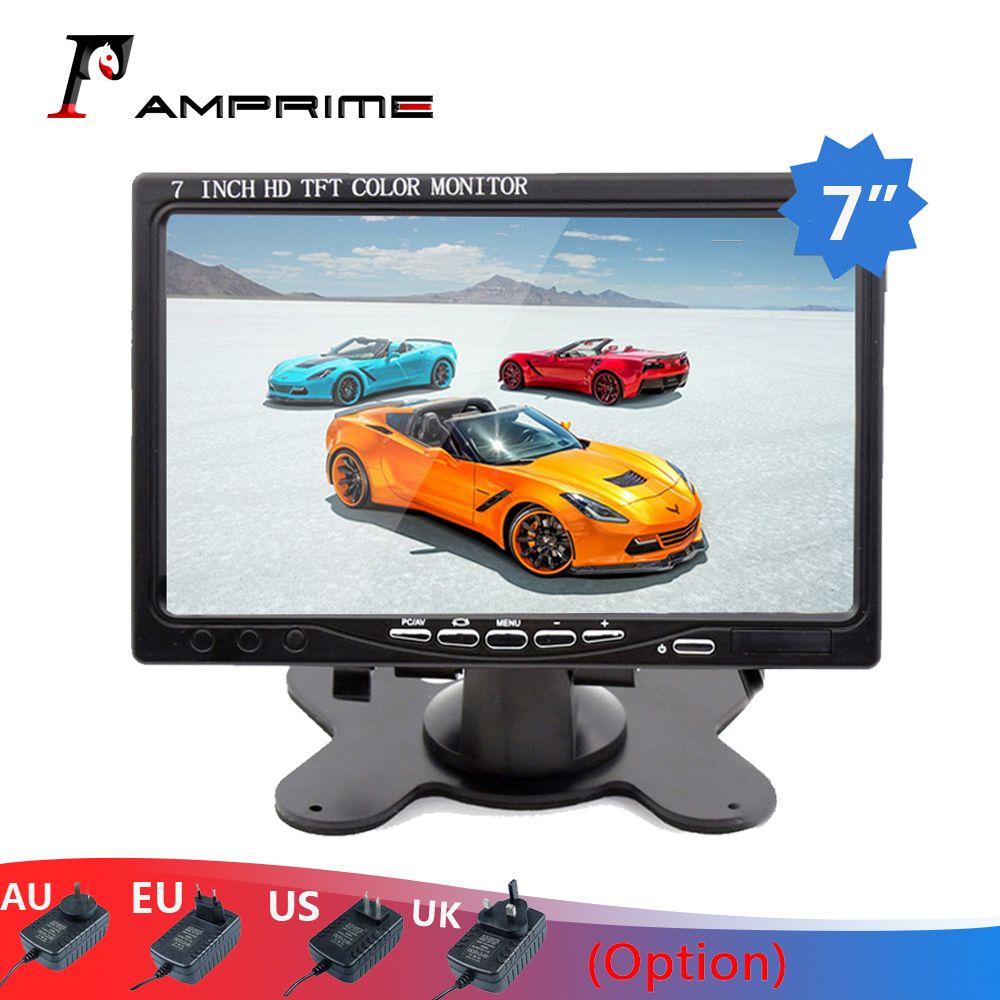 AMPrime 7 écran LCD voiture vue arrière moniteur, HDMI VGA vidéo Audio Mini ordinateur et TV affichage numérique pour caméra arrière voiture-style