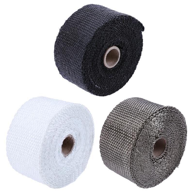 5m/16.4ft Thermal Exhaust Header Pipe Tape Heat Insulating Wrap Tape Fireproof Cloth Roll With Useful Steel Ties Kit Promotion