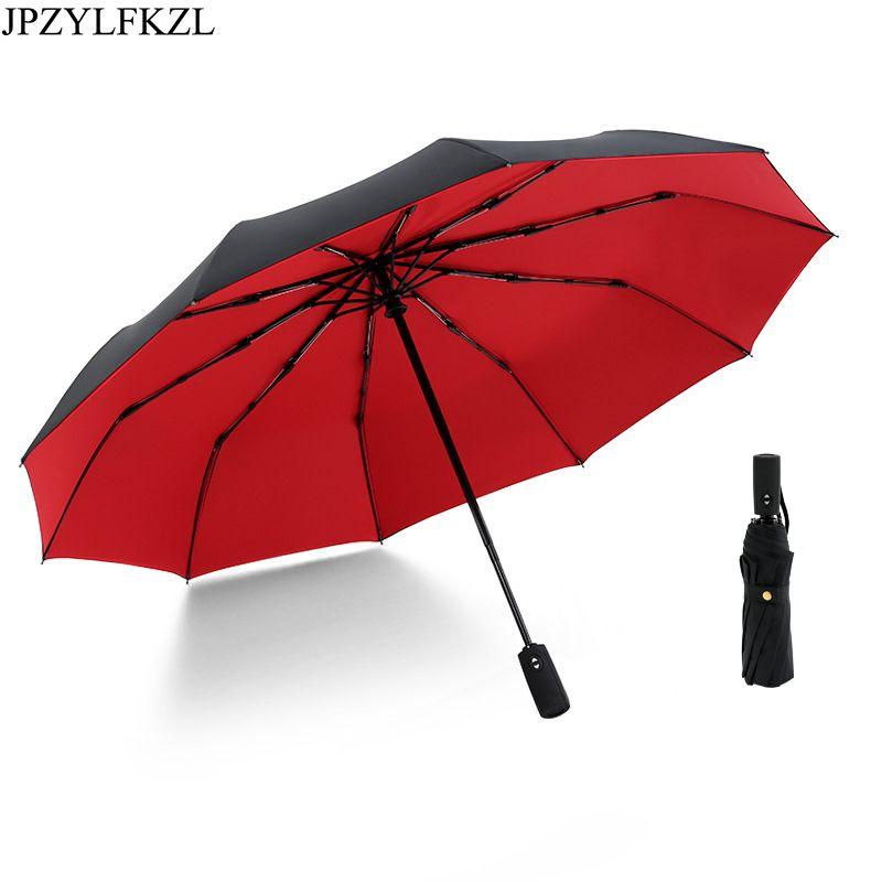 JPZYLFKZL Ten Bone parapluie pliant automatique femme mâle voiture de luxe grand coupe-vent parapluie parapluie hommes pluie peinture noire