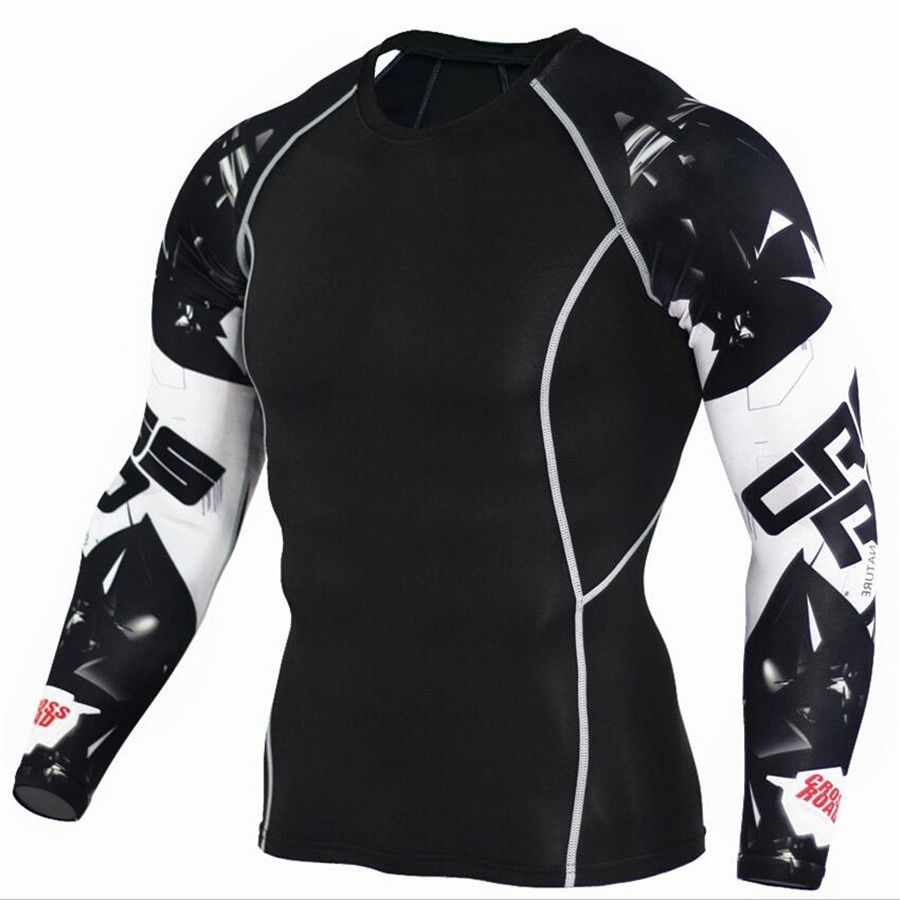 Mens Compression Shirts 3D Teen Wolf Maillots À Manches Longues T Shirt Fitness Hommes Lycra MMA Crossfit T-Shirts Collants Marque Vêtements