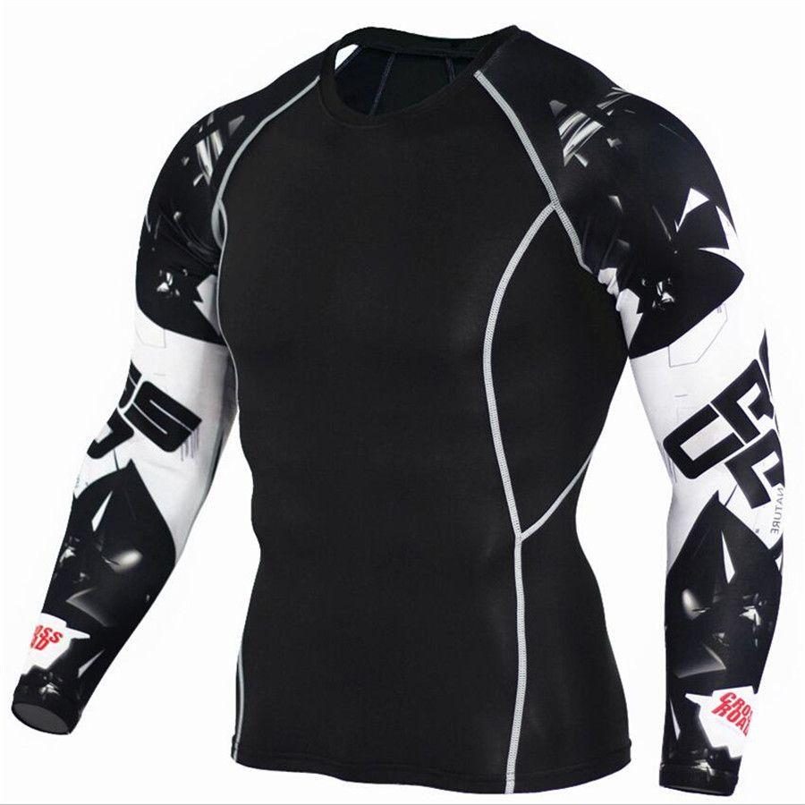 Mens Compression Shirts 3D Teen Wolf Maillots À Manches Longues T Shirt Fitness Hommes Lycra MMA Crossfit T-Shirts Collants Marque Vêtements