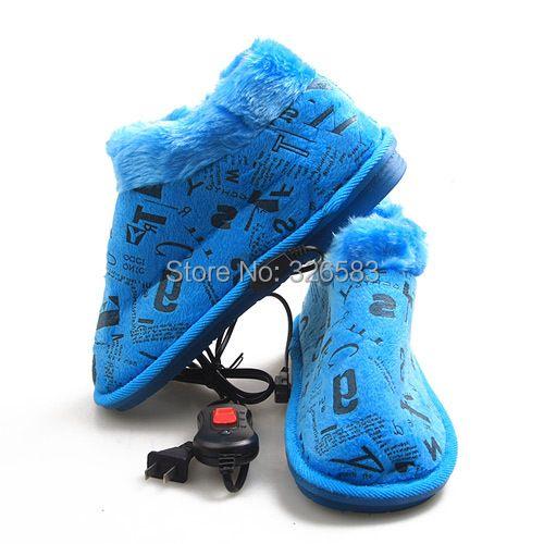 Envoi gratuit S2017 Cadeau De Noël ERTENG Marque Homme/Femmes En Peluche Pied Chaussures Chaudes Chauffage Électrique Pantoufles 220 V Ultra-Mince chaussures