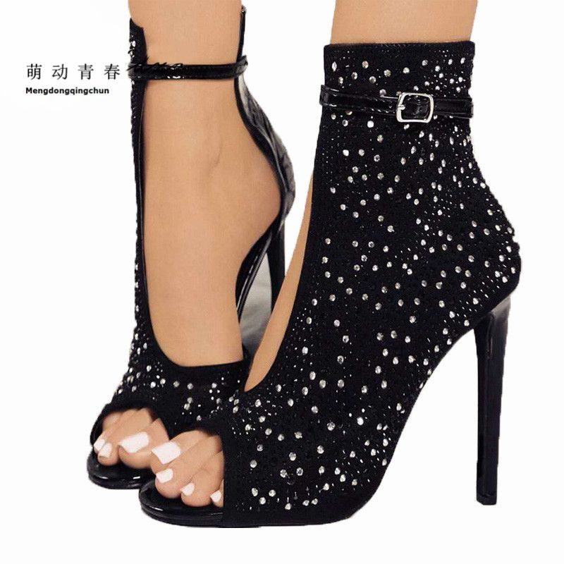 Women Pumps 2018 Fashion High Heels Brand Sexy Gladiator Crystal Thin Heels Women <font><b>Rhinestone</b></font> Buckle Strap Party Shoes