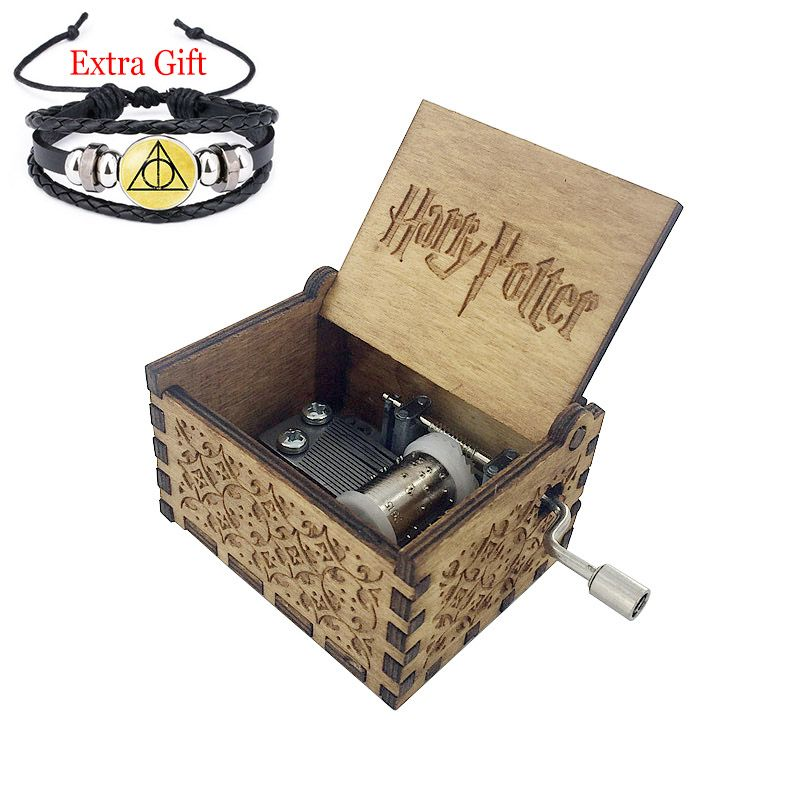 Anonymity  wooden hand crank Harry Potter Music Box Harry Potter  theme Wooden Music Box  free gifts bracelet