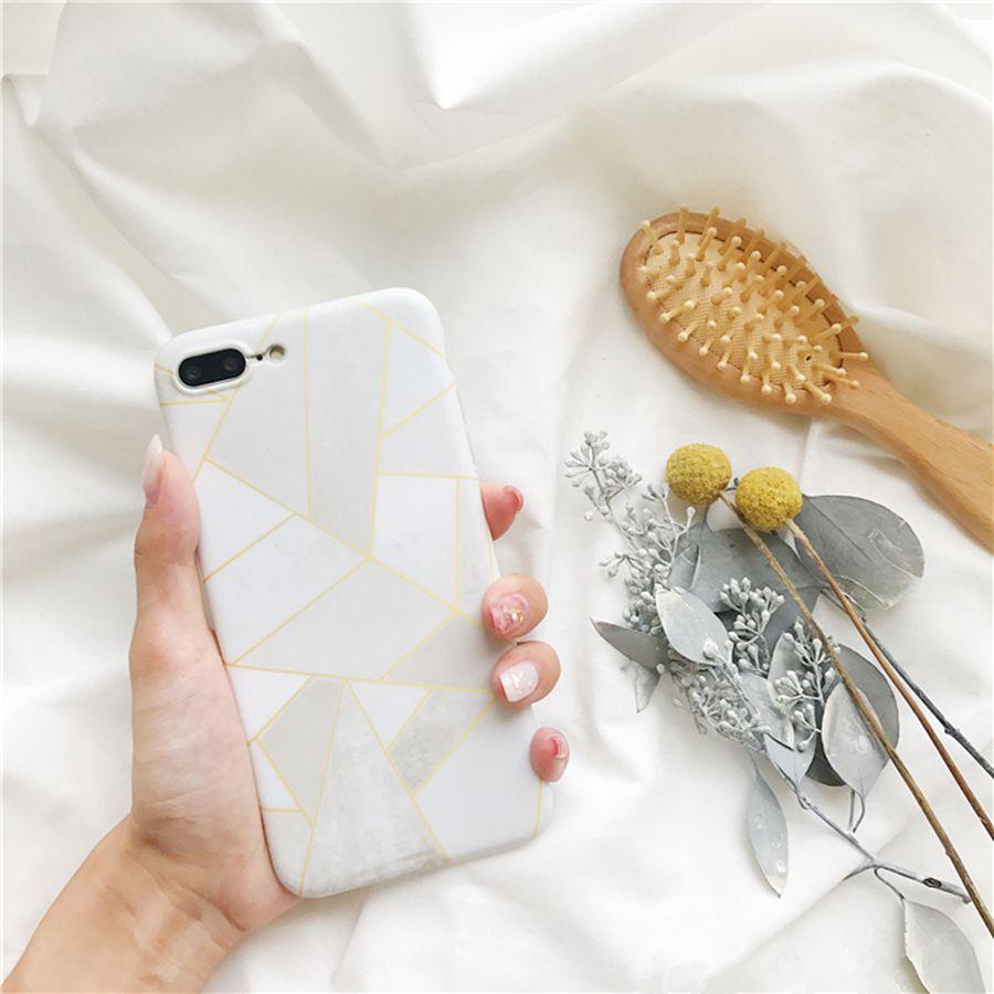 Rayures géométriques Triangle D'or Et Gris Blanc Cas de Téléphone pour Iphone 6 6 s Couverture Souple En Silicone Pour iPhone 7 7 Plus Téléphone Shell