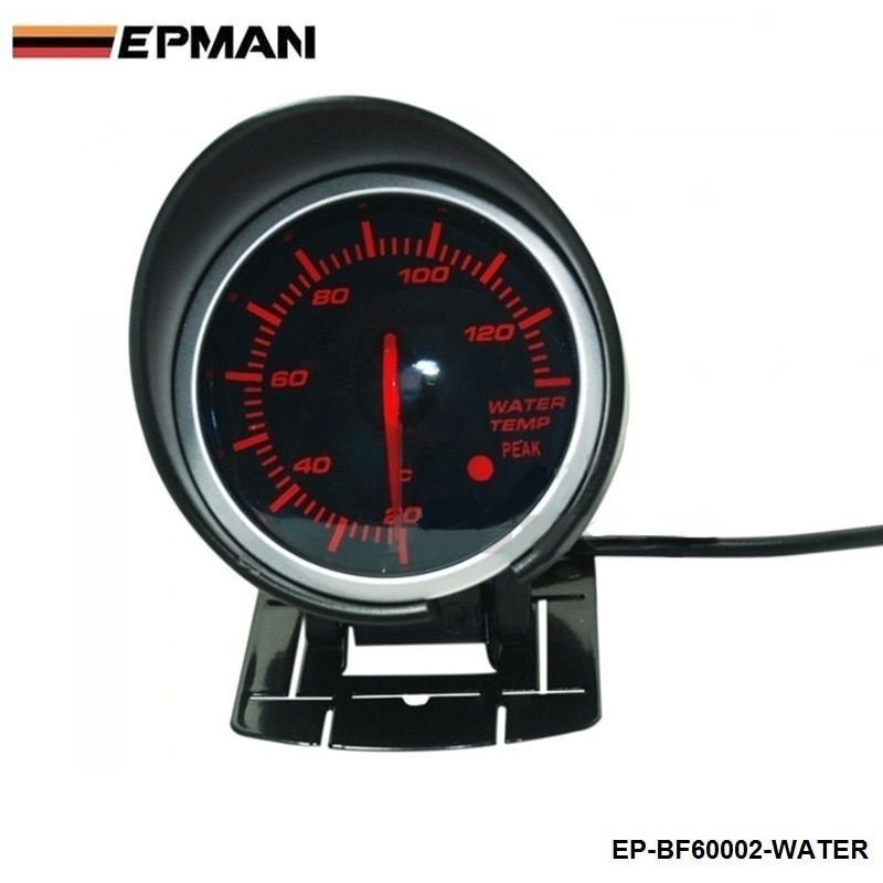 EPMAN - BF 60mm LED Water Temp Temprature Gauge Auto Car Motor Gauge with Red & White Light For Seat 2001-2006 EP-BF60002-WATER