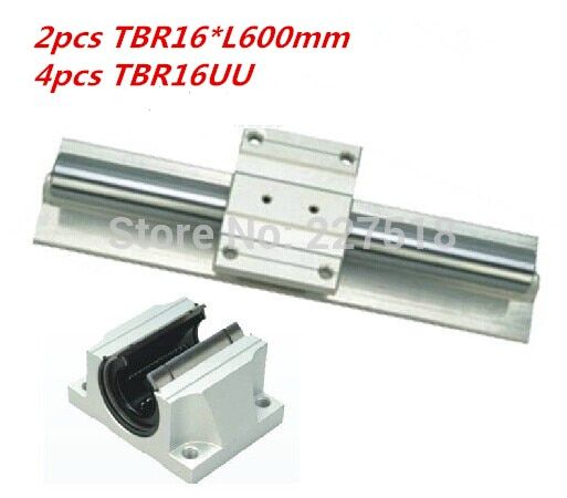 Support Linear rails Assemblies 2pcs TBR16 -600mm with 4pcs TBR16UU Bearing blocks for CNC Router