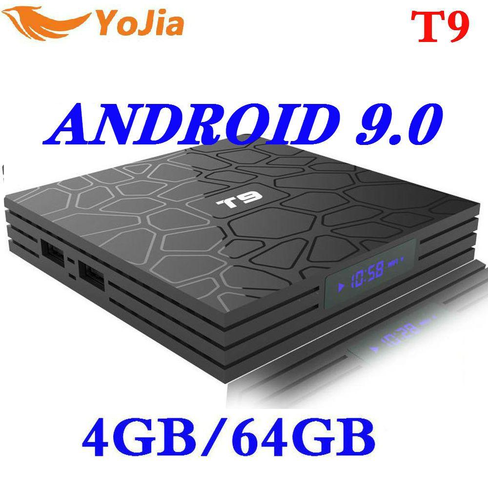 Le plus nouveau 4GB RAM 64GB ROM Android 9.0 TV Box T9 RKchip QuadCore USB 3.0 4K décodeur 2.4G/5G double WIFI 2G16G lecteur multimédia intelligent