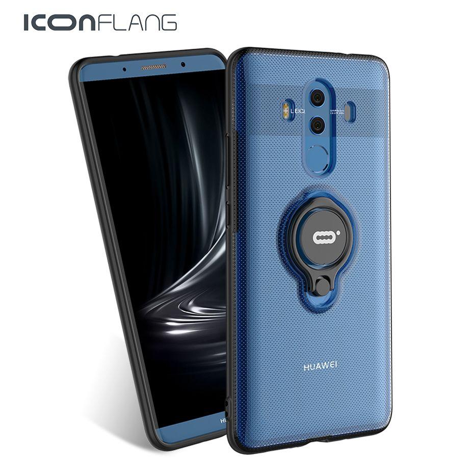 Pour Huawei Compagnon 10 Pro Cas De Luxe En Métal Anneau Couverture TPU PC Coque Accessoire Capa Pour Mate10pro Funda Iconflang