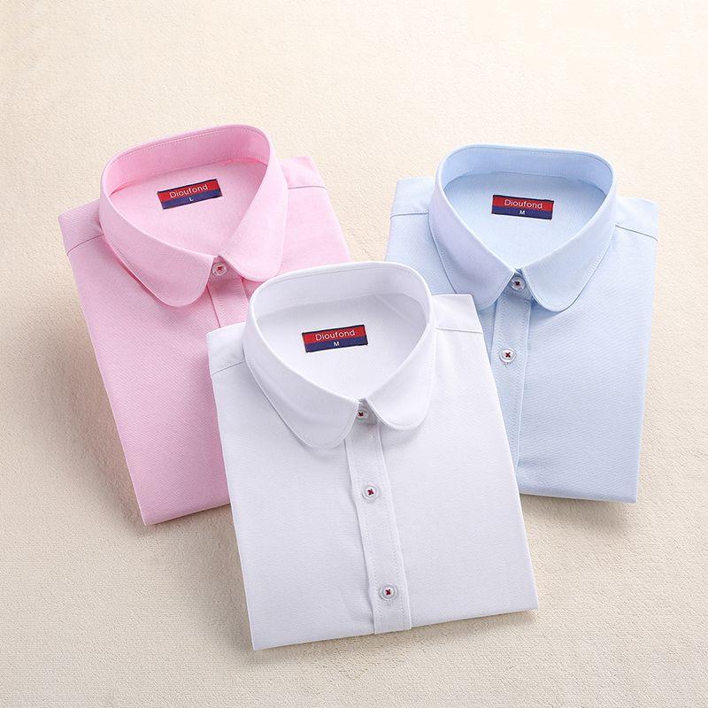 Dioufond Blouse formelle femmes chemise blanche coton bureau hauts manches longues femme chemises décontractées femmes bleu chemise de grande taille 5XL