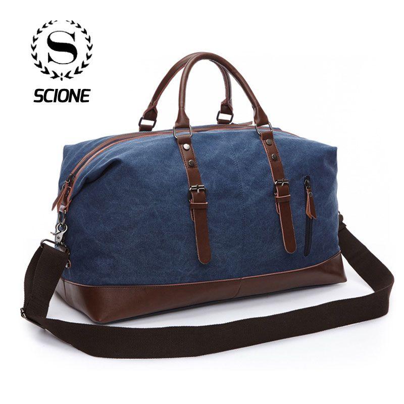 Scione Unisex Canvas Travel Shoulder Luggage Bags Large Capacity Handbag Business Casual Vintage Leather Simple Tote Bag For Men