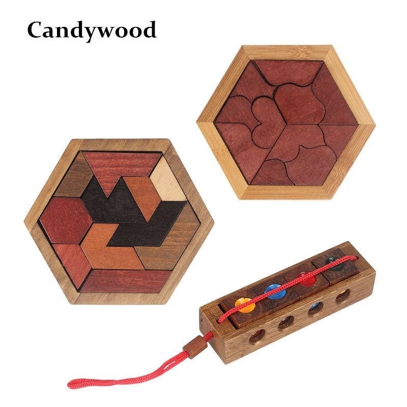 Funny Puzzles Wood Geometric Abnormity Shape Puzzle Wooden Toys Tangram/Jigsaw Board Kids Children Educational Toys for Boys