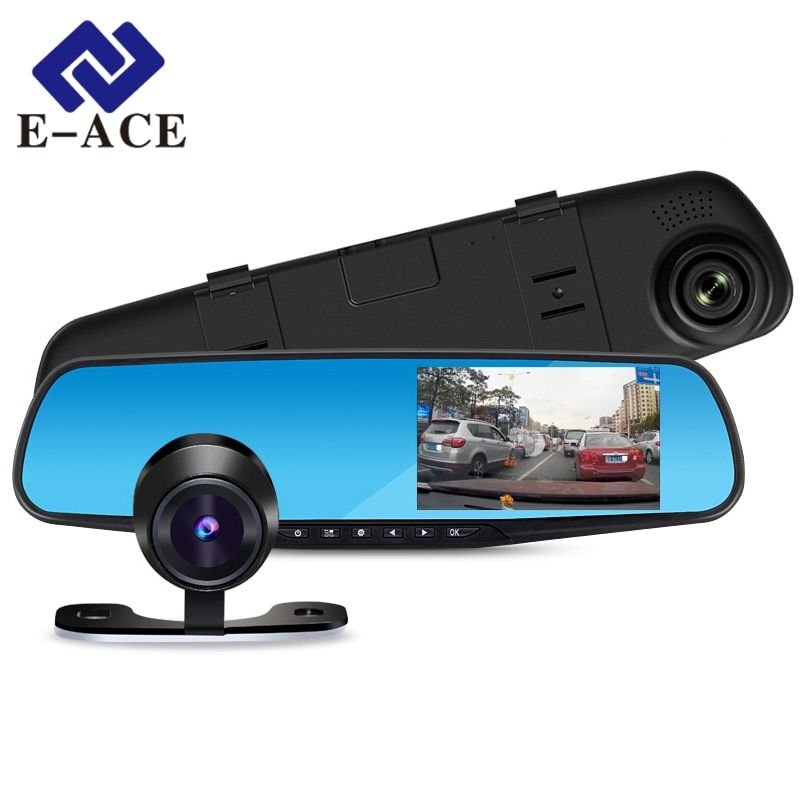 E-ACE Car Dvr 1080P <font><b>Dual</b></font> Lens Dash Camera Rear Mirror Digital Recorder With Rearview Camera Video Recorder Camcorder Registrar