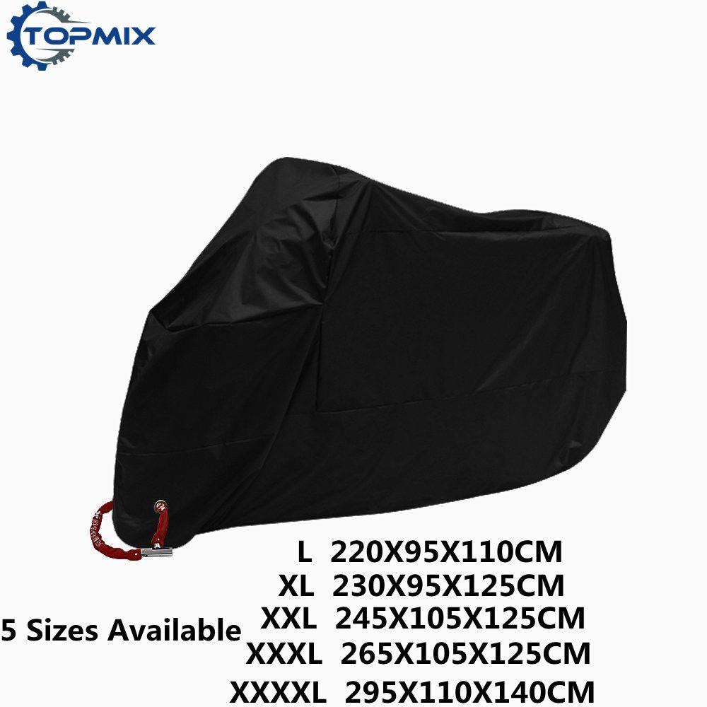 L XL XXL XXXL XXXXL 190T Black Motorcycle Cover Outdoor UV Protector Waterproof Rain <font><b>Dustproof</b></font> Cover Anti-theft with Lock Hole