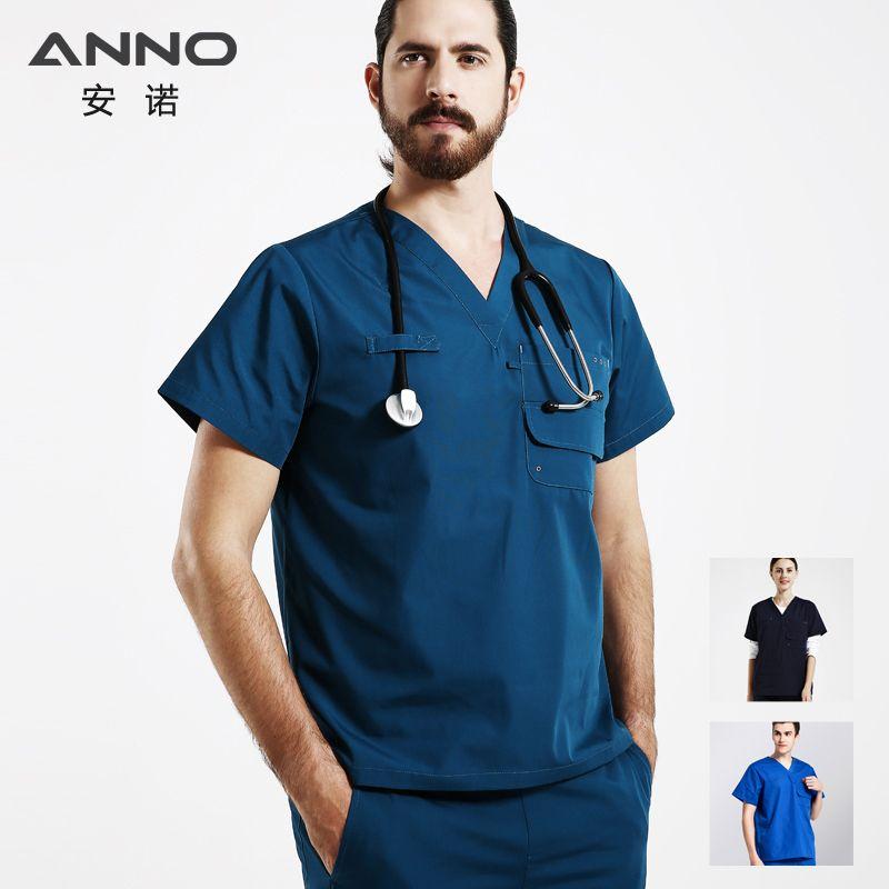 ANNO médical dentaire Scrubs pour femme et homme à manches courtes vêtements médicaux infirmière uniforme conceptions hôpital ensemble chirurgie costume