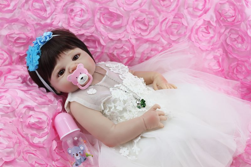 Full Body Silicone Reborn Baby Doll Toys 55cm Princess Newborn Girl Babies Doll With Evening Dress Kids Birthday Present