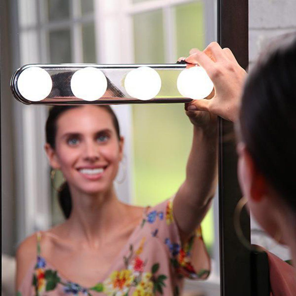 Portable 4 LED Bulbs Studio Glow Make Up Light Super Bright Cosmetic Mirror Light Kit Battery Powered Makeup Light Drop Shipping