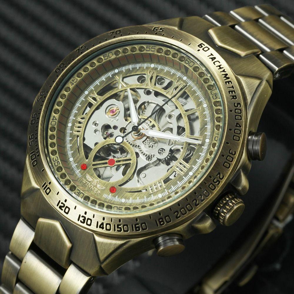 WINNER Vintage Fashion Men Mechanical Watches Metal Strap Top Brand Luxury Best Selling Vintage Retro Design Wristwatches +BOX