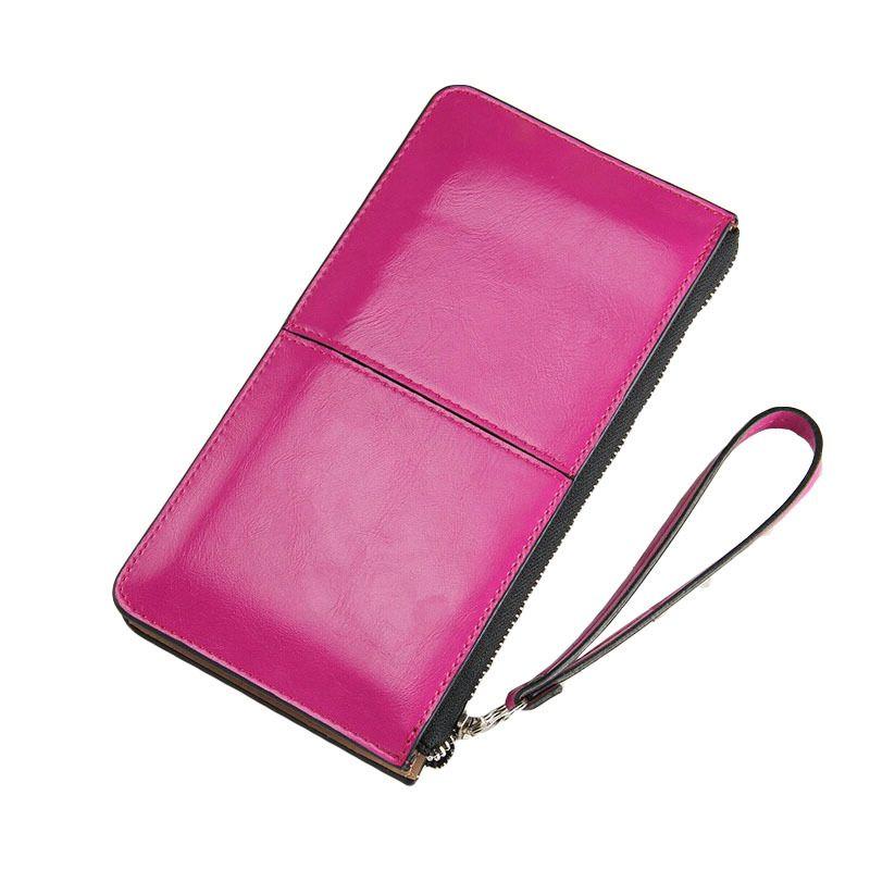 Frauen Berühmte Marke Öl Wachs Leder Reißverschluss Kupplung Brieftasche, Weiblichen Candy Farbe Einbrecher Beraubt Geldbörse, Lady Multi-funktion Telefon Brieftasche