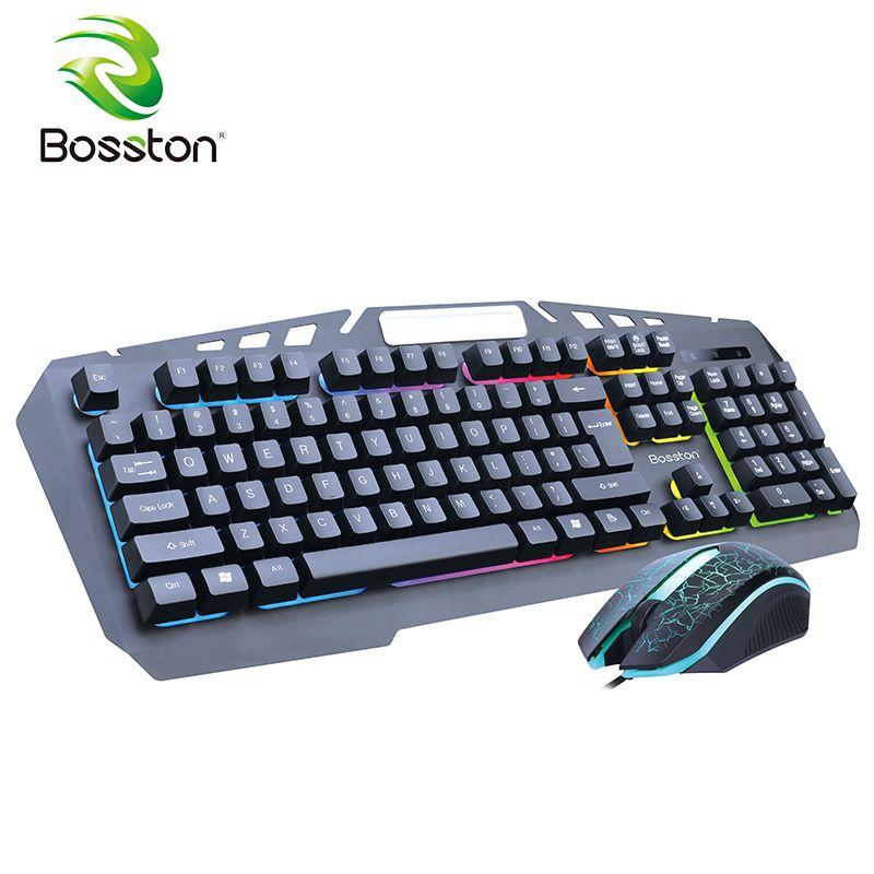 Bosston 8350 Mechanische Gefühl USB Verdrahtete Hintergrundbeleuchtung 104 Tasten Gaming Tastatur und Maus Set mit handyhalter