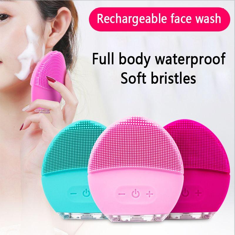 Brosse nettoyante électrique pour le visage Massage du visage en Silicone Vibracion sonique vibrateur étanche Machine nettoyeur de pores outils de soins de la peau