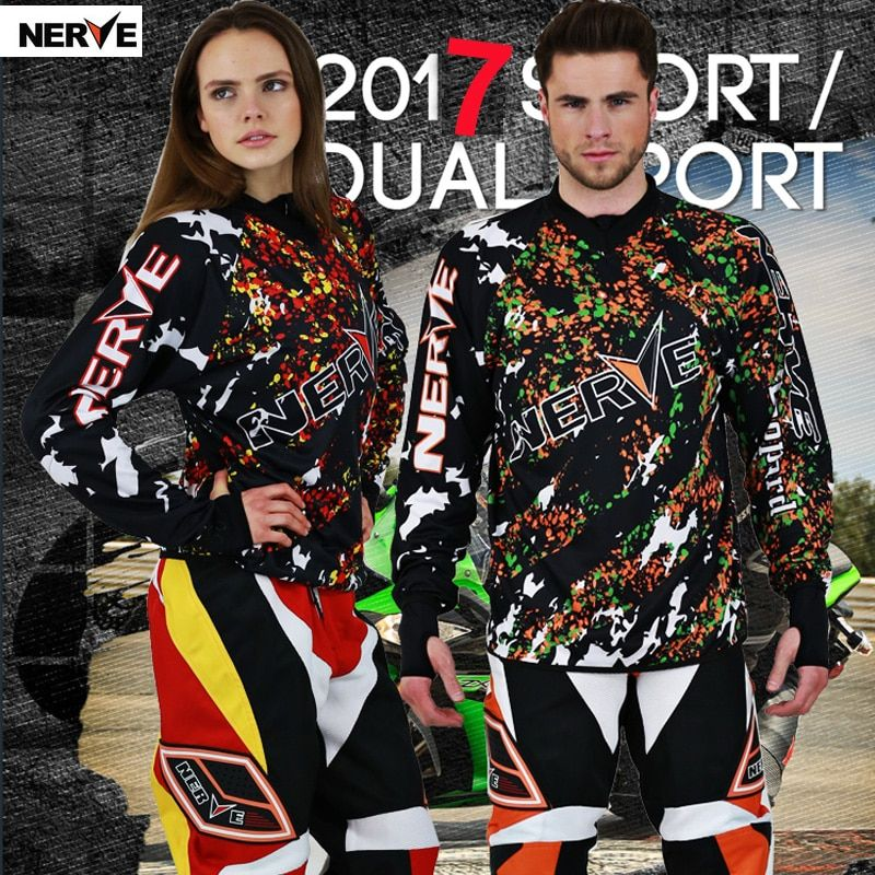 Brand NERVE Summer Motorcycle Breathable Off Road Combinations Racing T-shirt and Motocross Suit Clothes Pants for Men and Women