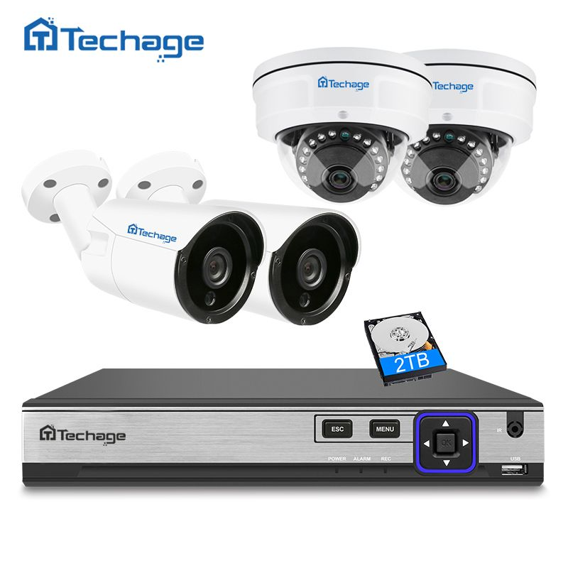 Techage H.265 4CH 4MP NVR POE CCTV System Indoor Outdoor Vandalproof Anti-vandal Dome IP Camera P2P ONVIF Surveillance System