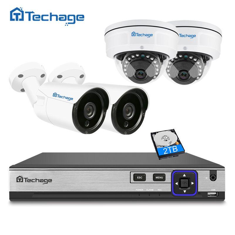 Techage H.265 4CH 4MP NVR POE CCTV System Indoor Outdoor Vandalproof Anti-vandal Dome IP Camera P2P ONVIF Surveillance System