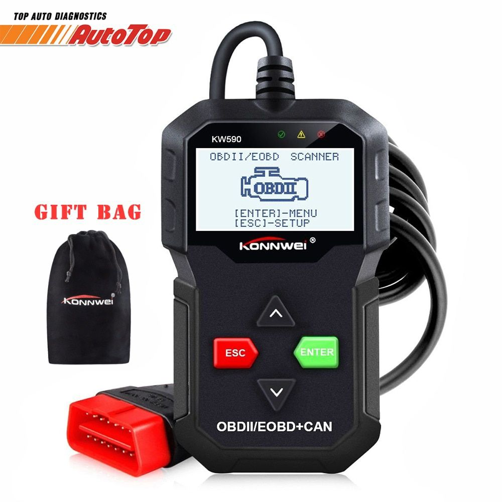 OBD2 Automotive Scanner KONNWEI KW590 OBD ODB2 Car Diagnostic Tool in Russian Code Reader Auto Scanner Better than AD310 ELM327