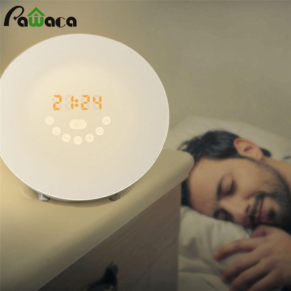 Simulated Sunrise Sunset Wake Up Digital LED Alarm Clock FM Radio Electronic Alarm Clocks Touch Sensor Night Light Beside Lamp