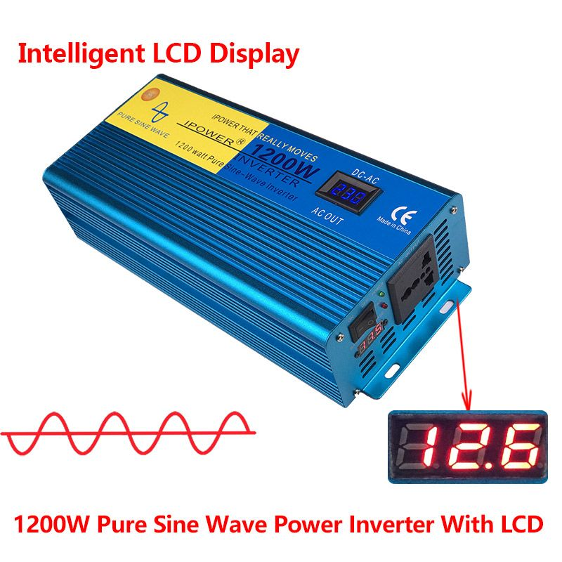 Digital Display 1200W 2400W Peak Pure Sine Wave Power Inverter DC 12V to AC 220V 230V 240V Converter Supply Solar Power