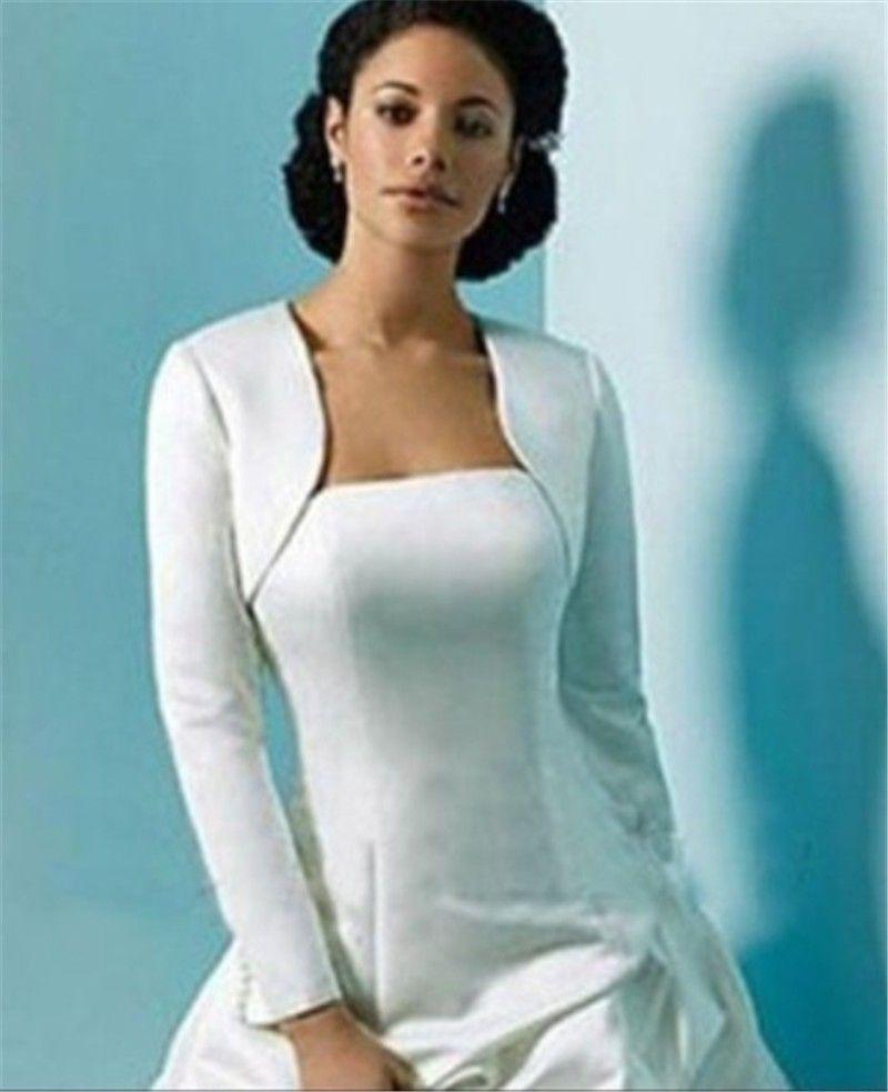 Pas cher Manches Longues Veste De Mariage Wraps Bolero Satin Femmes d'hiver cape de mariage Wrap Shrug Pour Robes De Soirée Custom Made