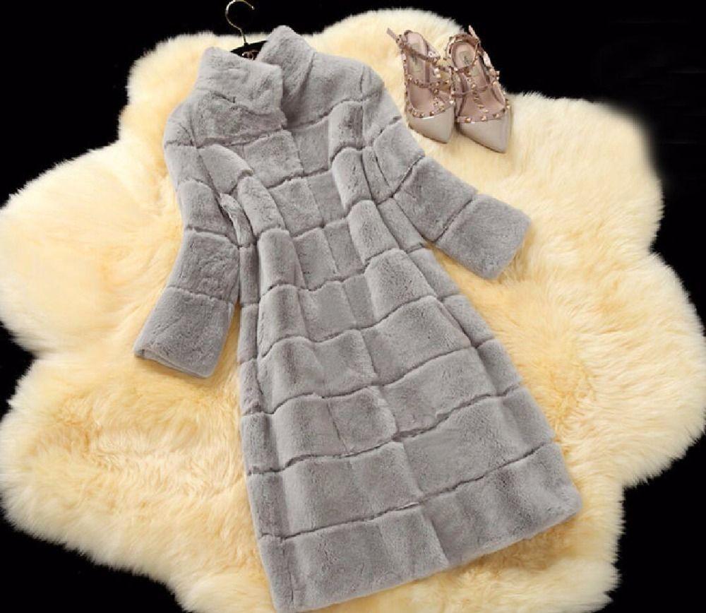 Plus größe 2017 reale natürliche rex kaninchenhaar pelzmantel 11 farben frauen lange design winter warme oberbekleidung weibliche mantel