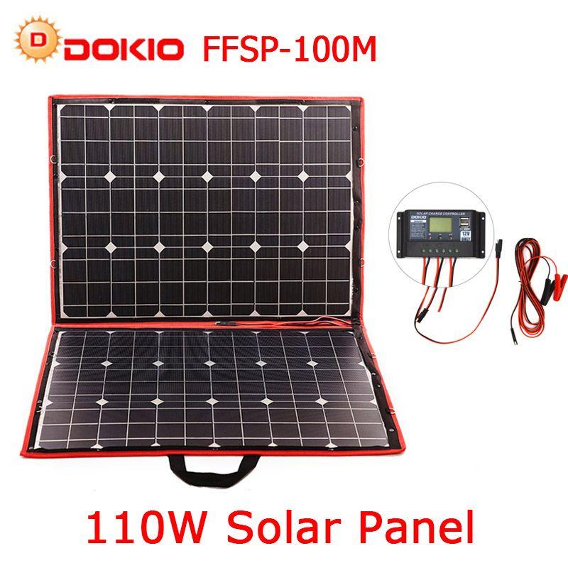 Dokio 100w 110w(55Wx2pcs) Flexible Foldble Mono Solar Panel For Travel & Boat & RV High Quality Portable Solar Panel China