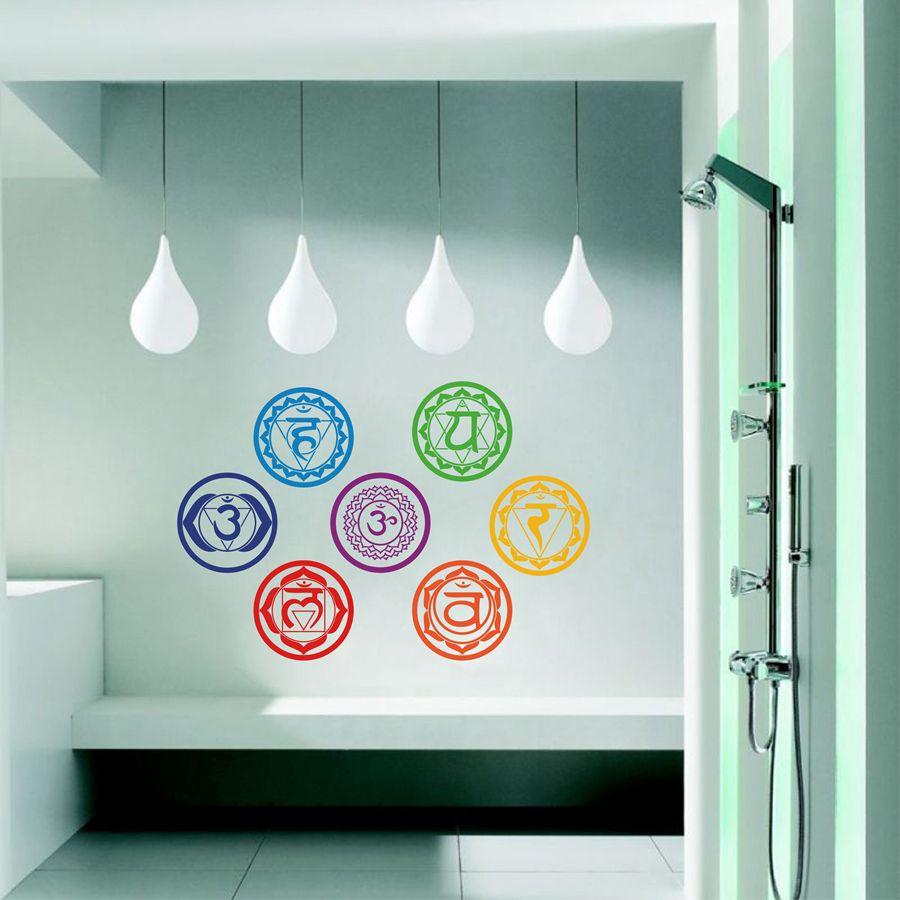 Chakras vinyle autocollants (lot de 7 pièces)-santé Aum méditation Yoga Om méditation symbole Art Stickers muraux décoration de la maison