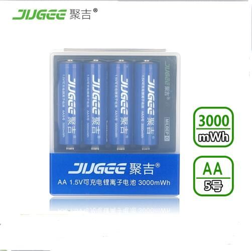 4 pcs JUGEE 1.5 v 3000mWh AA Li - polymer Li - ion lithium polymer rechargeable batterie avec charger set!
