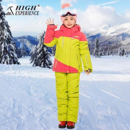 HIGH EXPERIENCE New Style girls, boys Jacket+Pants Windproof Waterproof Outdoor Sport Wear Camping Riding Skiing Snowboard