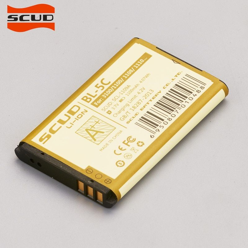 SCUD BL-5C Phone Battery For Nokia C1 C2 E50 E60 1000 1010 1108 1110 1112 1116 E50 E60 N70 6680 BL5C battery