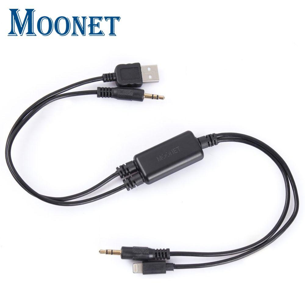 Moonet Voiture Audio connecter iPhone5/6 iPod iPad USB Interface Adaptateur AUX Câble pour BMW mini cooper E26 E30 E32 QX179