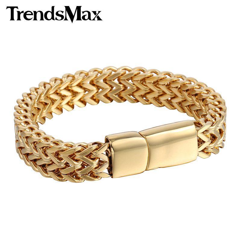 Hommes de Bracelets hip hop Big Or Argent Noir Vulpin Lien 316L acier inoxydable Bracelet Pour bijoux pour homme En Gros 12mm KHB246