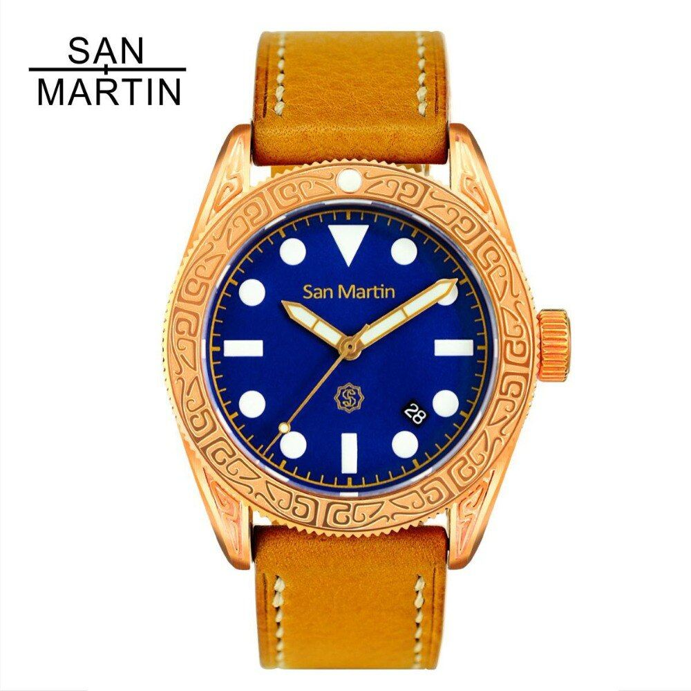 San Martin Men Vintage Diving Watch Vintage Bronze Ding carved Automatic Watch 500 Water Resistant Relojes Hombre 2018 fashion