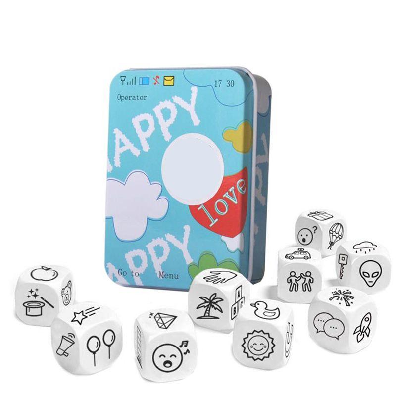 Histoire dés Puzzle jeu de société raconter l'histoire boîtes en métal famille/fête/amis Parents avec enfants drôle jeu anglais