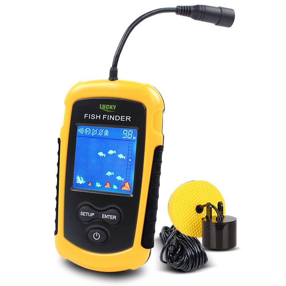 Color Display Portable Fish Finder Sonar Sounder Alarm <font><b>Transducer</b></font> Fishfinder 0.7-100m fishing echo sounder with English