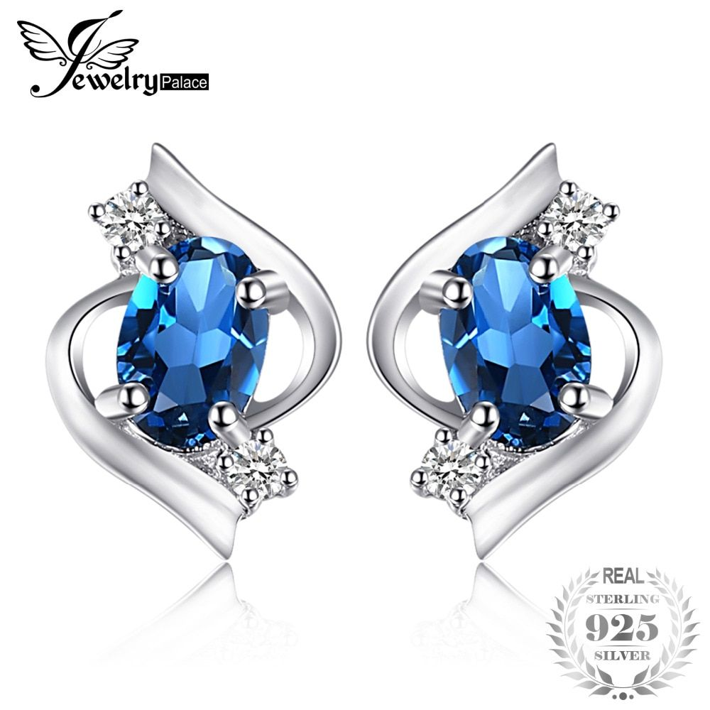 JewelryPalace Oval 1.1ct Natural London Blue Topaz Stud Earrings Genuine 925 Sterling Silver New Fine Jewelry For women
